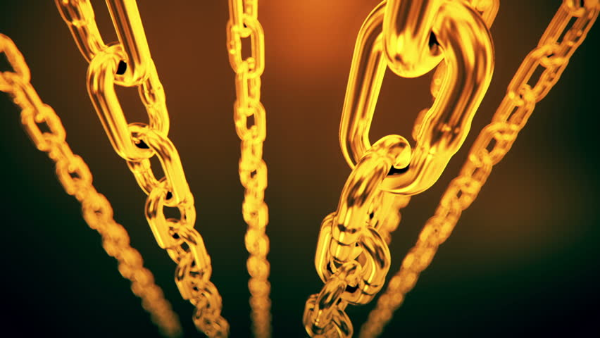 Reflective gold chain moving on a dark background. Loopable animation.