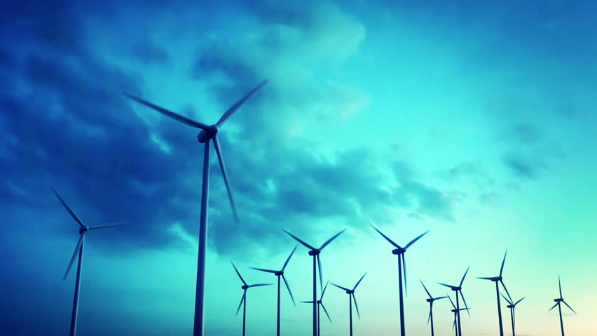 Wind energy turbines are one of the cleanest, renewable electric energy source. Electricity is generated by electric generators hidden inside turbine.  | Shutterstock HD Video #3634604