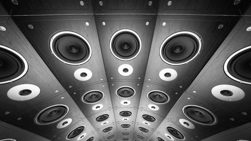 Rotating wall of speakers. Loopable animation.   Shutterstock HD Video #3634895