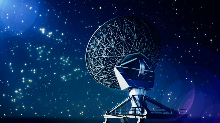 Satellite Dish Rotating Changing Position During Starry Night - Hd satellite images