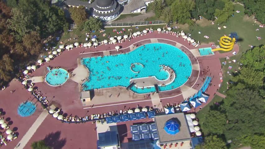 Hotel pool with people  SOCHI, RUSSIA - JUL 26, 2014: Big Swimming Pool With People Of ...