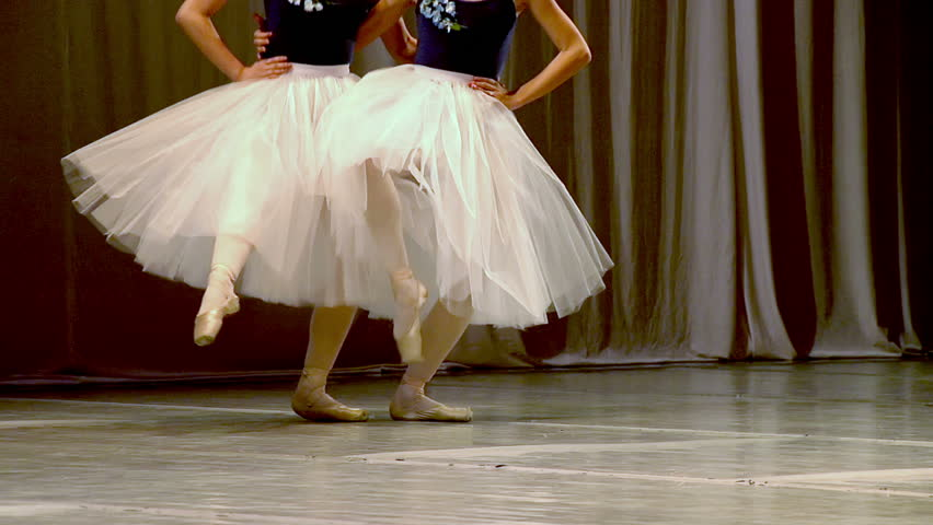 Four Dancers. Slow Motion at a rate of 240 fps. Choreographic sketch ballet dancers