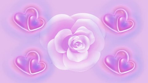 Spinning Pink Rose Animated Hearts Stock Footage Video (100