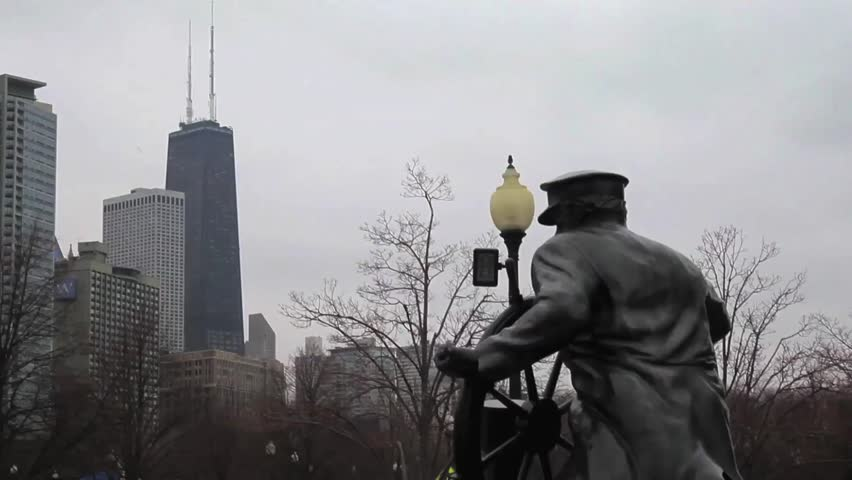 John Hancock Center in the background of the sculpture at Navy Pier