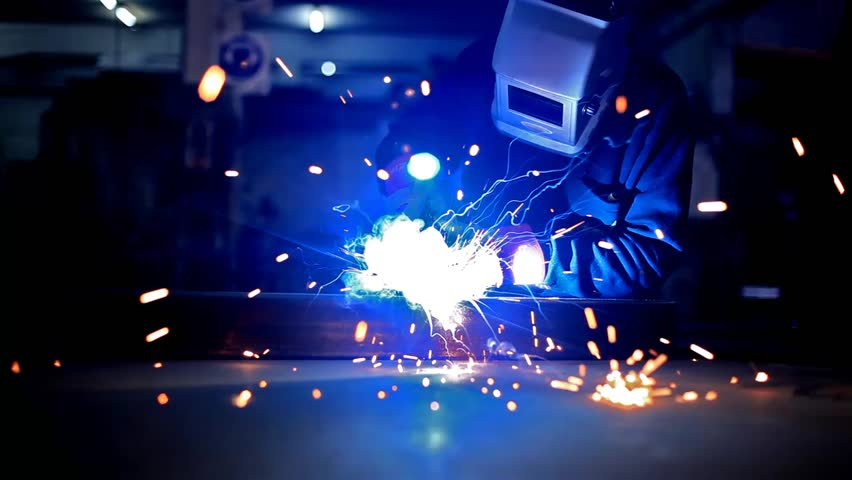 iron soldering in a steel factory factory
