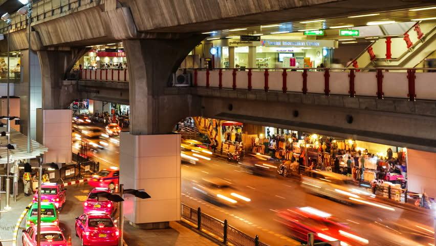 Busy night traffic in Bangkok