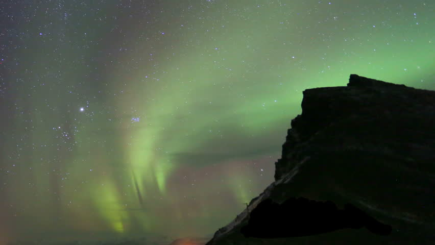 Northern Lights Time lapse recording of beautiful northern lights over east Iceland.
