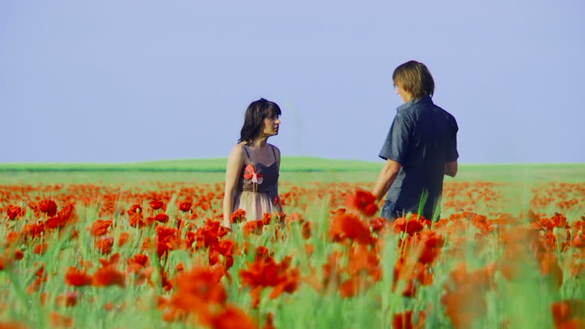 Girl and the guy quarrel in the poppy field.