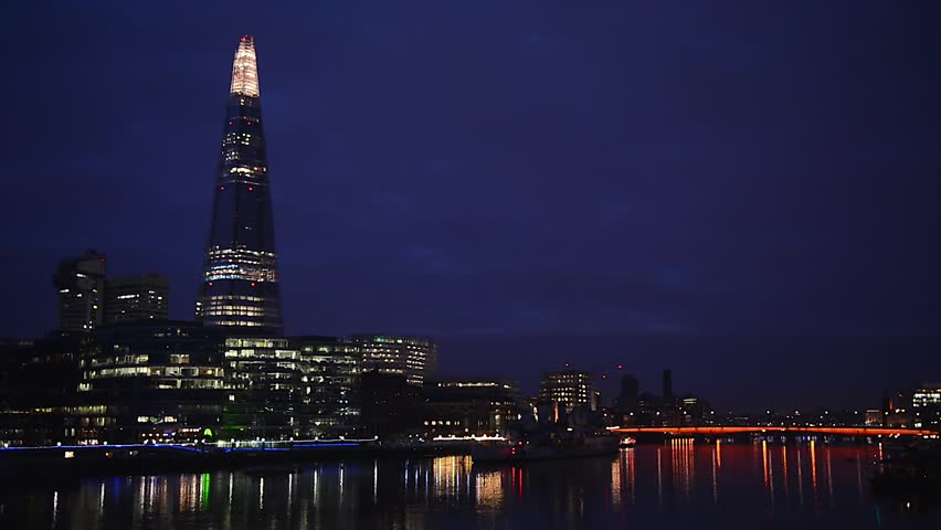 Real time video of The Shard and Southwark skyline in London, UK. Night at the Thames River.
