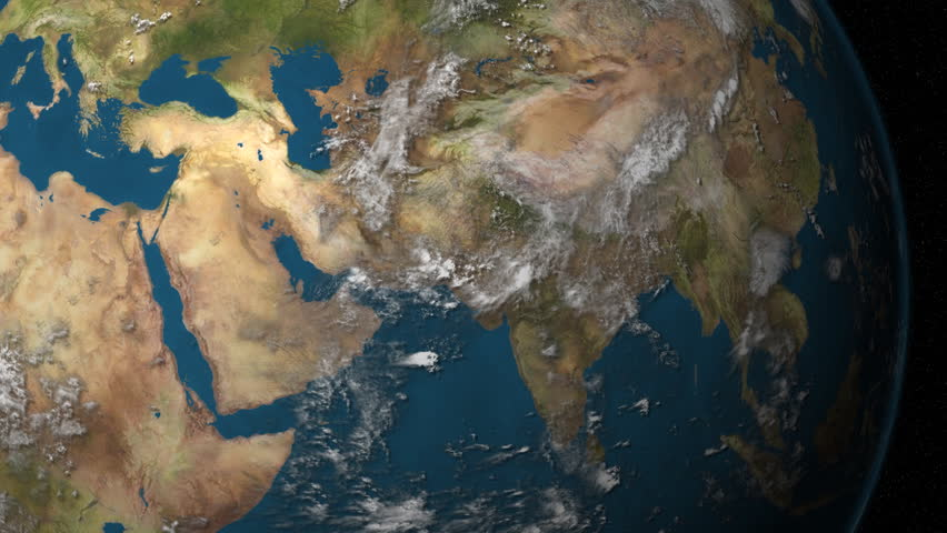 A rotating Earth, focusing on the Middle East.
