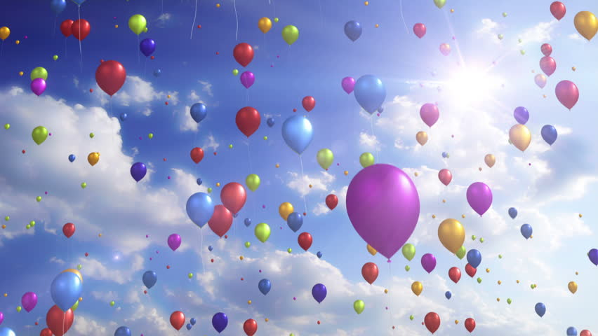 Colorful Balloons - Festive / Party Video Background Loop /// Lots of colorful balloons gently rise up to a cloudy, sunny sky. A wonderfully calm and relaxed video loop. Hope you enjoy it.