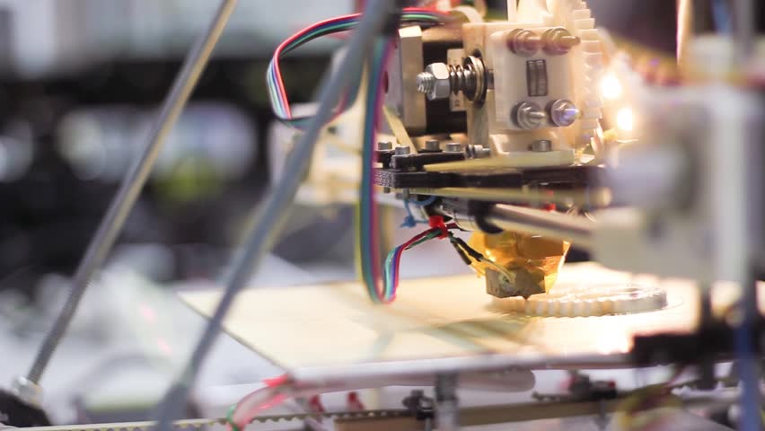 Three dimensional printer during work in school laboratory, 3D plastic printer, 3D printing | Shutterstock HD Video #3704795