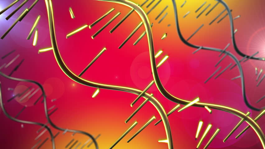 High Definition abstract CGI motion backgrounds ideal for editing, led backdrops or broadcasting featuring golden yellow dna like strands rotating
