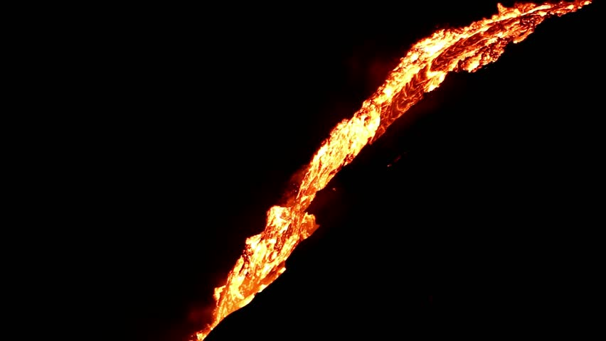 Lava flow at night, Hawaii