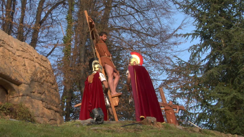 ROMAGNANO SESIA, ITALY - march 31: Via Crucis (Way of the Cross). Representation of Jesus crucifixion on March 31, 2013 in Romagnano Sesia, Italy