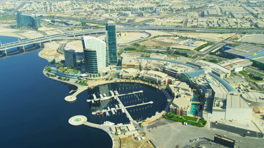 Aerial view Festival City and marina, Dubai, United Arab Emirates, Middle East