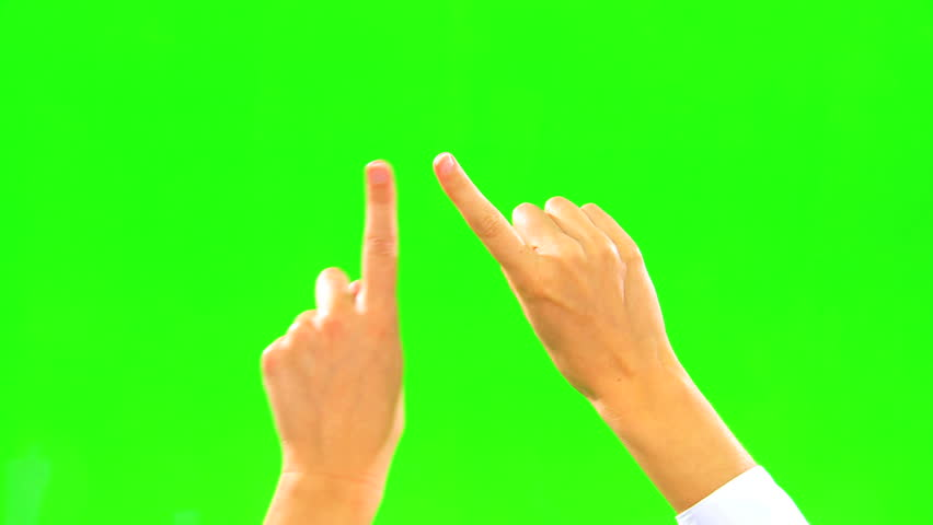Hand only using touch to access virtual green screen technology #3732035