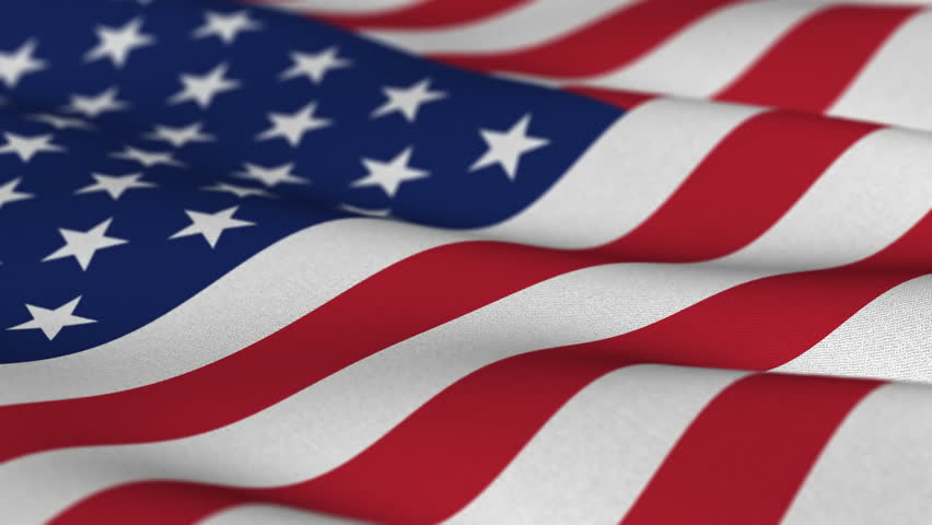 Shallow depth of field - USA flag waving in the wind - highly detailed fabric texture - seamless looping