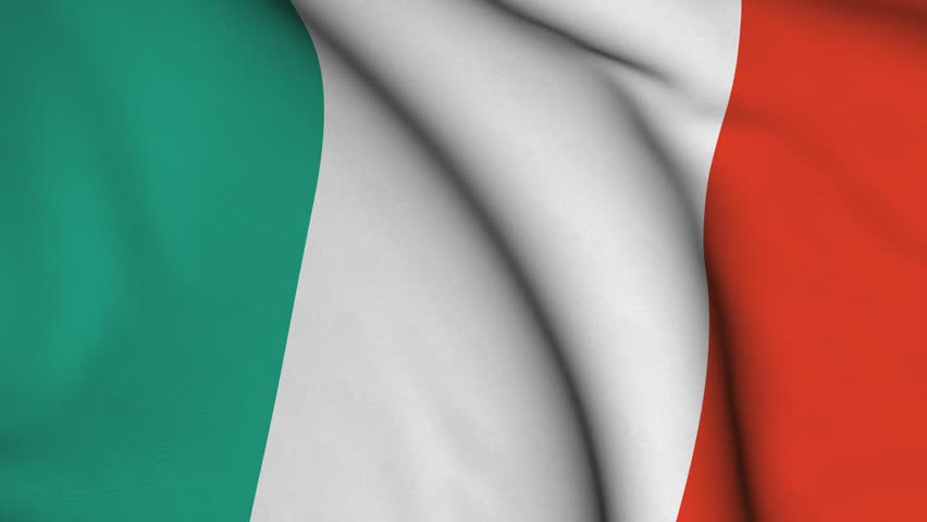 Seamless looping high definition video closeup of the Italian flag with accurate design and colors and a detailed fabric texture.