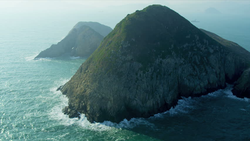 Aerial view of rocky coastal Islands nr Hong Kong, South China Sea, China, Asia, RED EPIC