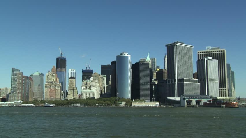 New York City skyline seen from the Hudson River. | Shutterstock HD Video #3747665