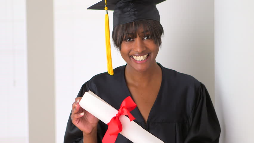 Happy black woman college graduate