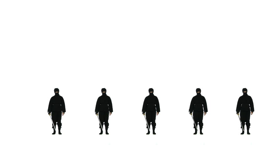 Five masked ninjas draw swords and strike a dramatic pose, one after the other, then all return to standing as one. Looping clip with white background.