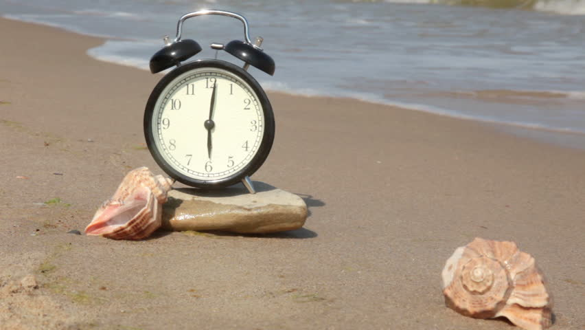 Beach Clean Soft Sand Surf On The Stone Is An Alarm Clock Next To Them Are Shells Will Ring Real Sound Of Wind And Call