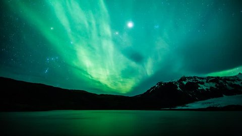 Northern Lights (Aurora borealis) reflected on a lake timelapse in Iceland