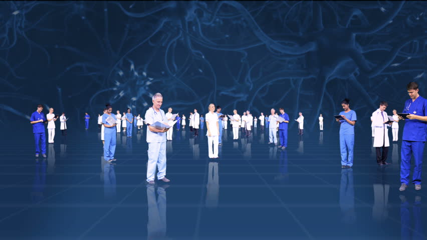 3D fly through montage of medical healthcare professionals using modern wireless technology