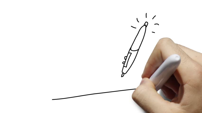 Graphic tablet and pen used by artists instead of a mouse - simple stylized linear drawing, animated scribe, whiteboard animation. White or green backgrounds.