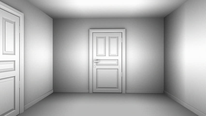 A maze of corridors and doors gray material. 3D animation. - HD stock : stock doors - pezcame.com