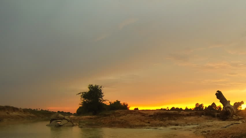 Panning timelapse of golden sunset in west baray close to Siem reap Cambodia