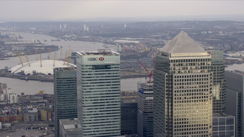 LONDON - MARCH 28: Aerial view of Canary Wharf, March 28, 2013 in London, England.