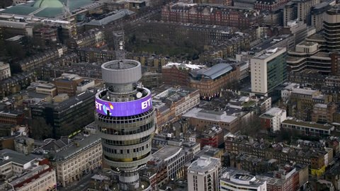 LONDON - March 28: Aerial view of the BT Tower in Fitzrovia March 28, 2013 in London, England.