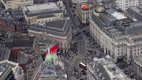 LONDON - MARCH 28: Aerial view of Piccadilly Circus in Central London March 28, 2013 in London, England.