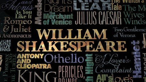 Typographical animation of William Shakespeare titles.