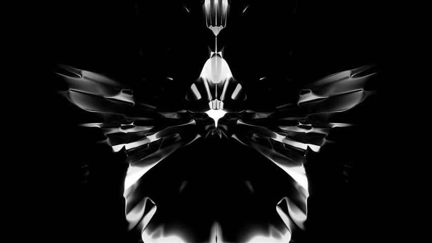 White Rorschach Ink blot test on black
