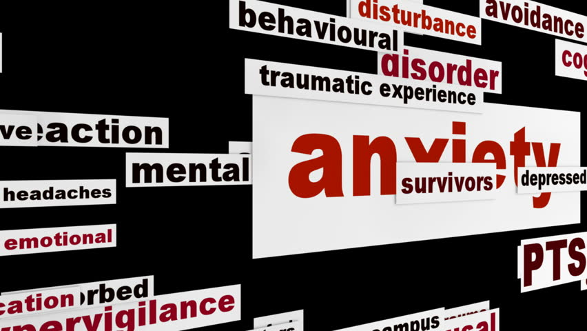 Anxiety mental health message. Mental disorder word clouds animation