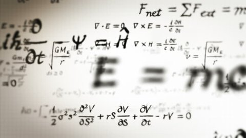 Physics formulas. Loopable. Dolly in. Black and White. Flying through different physics formulas. Two colors to choose.