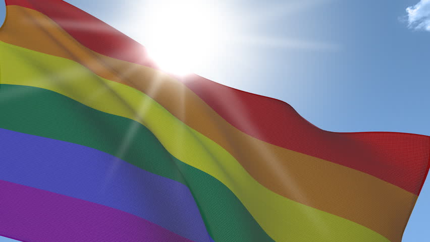 Gay Flag waving on the wind. Seamless Loop. Fabric Details.
