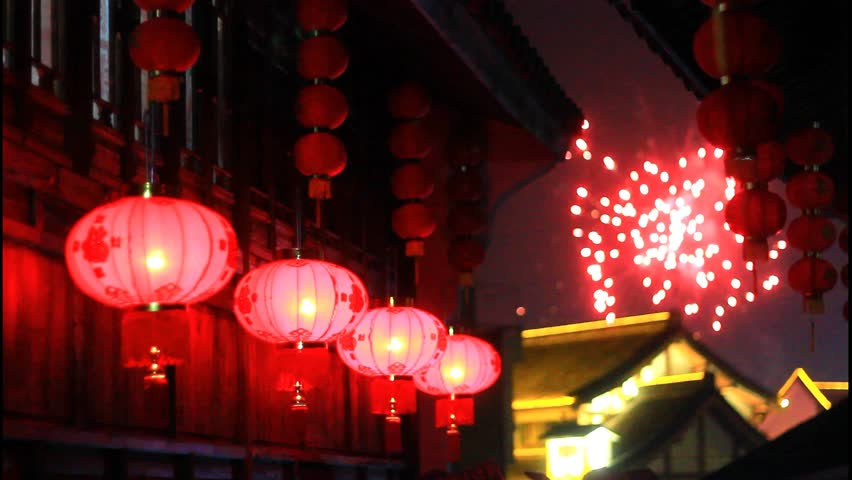 Red Asian Lanterns and fireworks