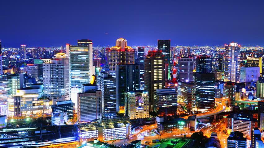 Osaka, Japan cityscape time lapse at night. | Shutterstock HD Video #3904685