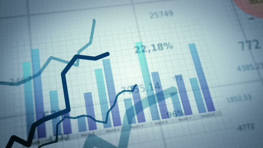 Growing charts.White-Black. Financial figures and diagrams showing increasing profits.Two colors to choose. Loopable.  NEW 4K IMPROVED VERSION IN MY PORTFOLIO | Shutterstock HD Video #3913322