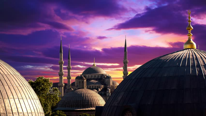 Blue Mosque at dramatic sunset in Istanbul. Timelapse