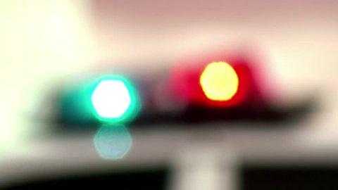Active emergency lights police car