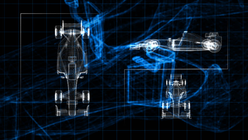 Screen panel of wireframe racing car. | Shutterstock HD Video #3934772