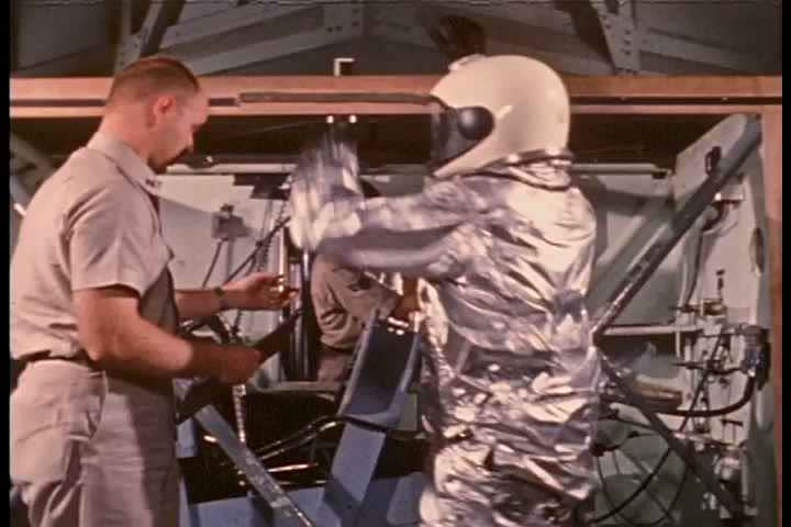 1960s - Early astronauts undergo training and get familiar with the space capsules.