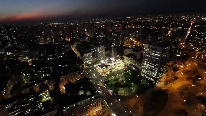 Sao Paulo Brazil  dusk city night skyline street aerial view museum