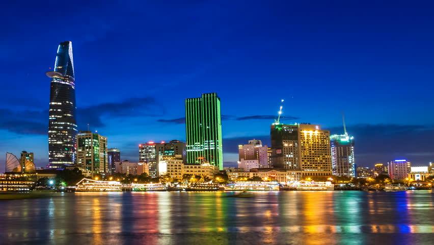 HO CHI MINH CITY CITY SUNSET SKYLINE - Timelapse